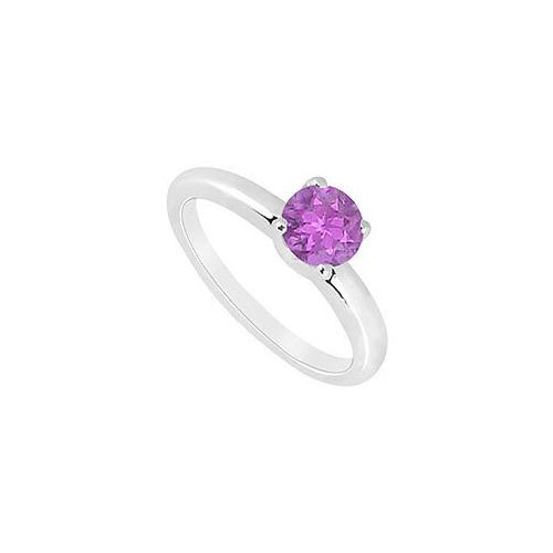 Amethyst  Ring : 14K White Gold - 1.00 CT TGW
