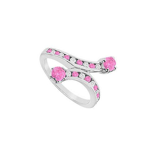 Pink Sapphire and Diamond Ring : 14K White Gold - 1.00 CT TGW