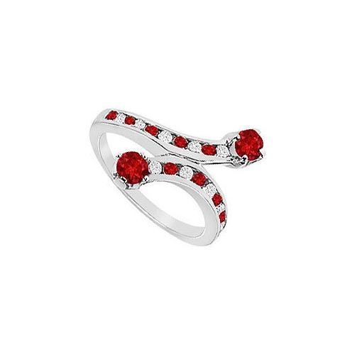 Ruby and Diamond Ring : 14K White Gold - 1.00 CT TGW