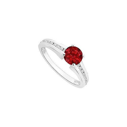 Ruby and Diamond Engagement Ring : 14K White Gold - 0.50 CT TGW