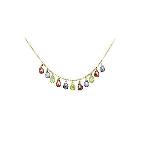 Multicolor Gemstone Necklace : 14K Yellow Gold - 7.00 CT TGW