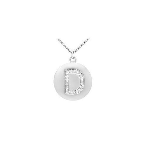 Diamond Initial D Disc Pendant : 14K White Gold - 0.33 CT Diamonds
