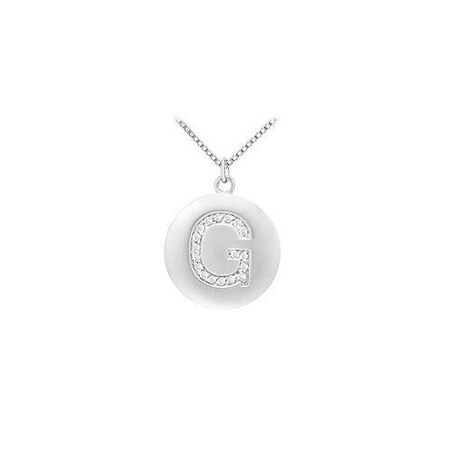 Diamond Initial G Disc Pendant : 14K White Gold - 0.33 CT Diamonds