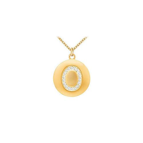 Diamond Initial O Disc Pendant : 14K Yellow Gold - 0.33 CT Diamonds