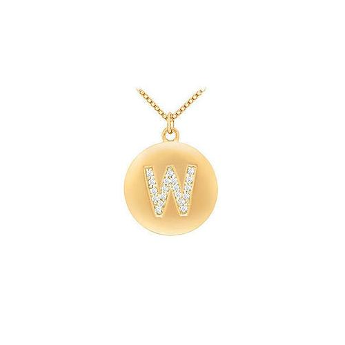 Diamond Initial W Disc Pendant : 14K Yellow Gold - 0.33 CT Diamonds