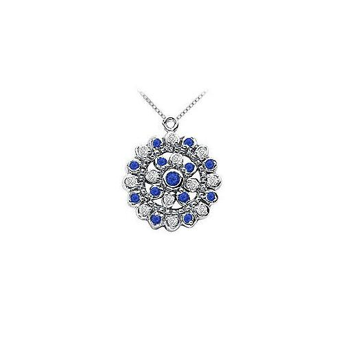 Sapphire and Diamond Flower Pendant : 14K White Gold - 0.50 CT TGW