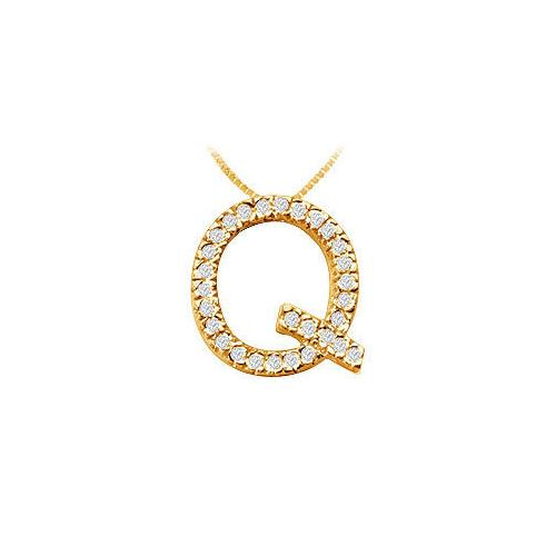 Classic Q Initial Diamond Pendant : 14K Yellow Gold - 0.45 CT Diamonds