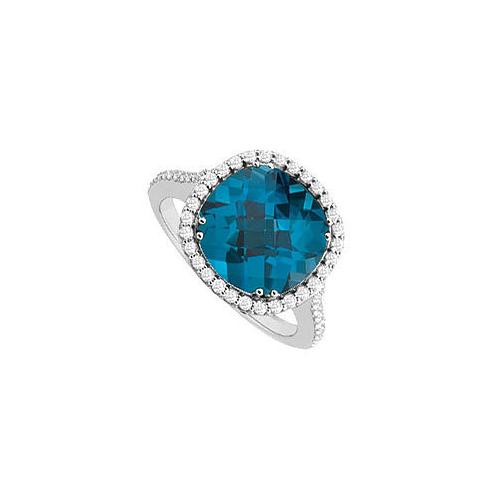 Blue Topaz and Diamond Ring : 14K White Gold - 3.50 CT TGW
