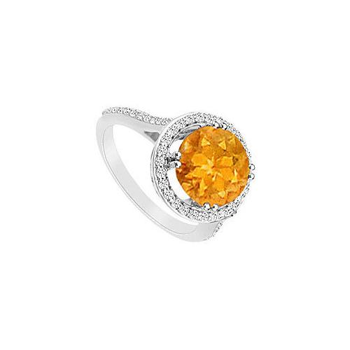 Citrine and Diamond Ring : 14K White Gold - 1.25 CT TGW