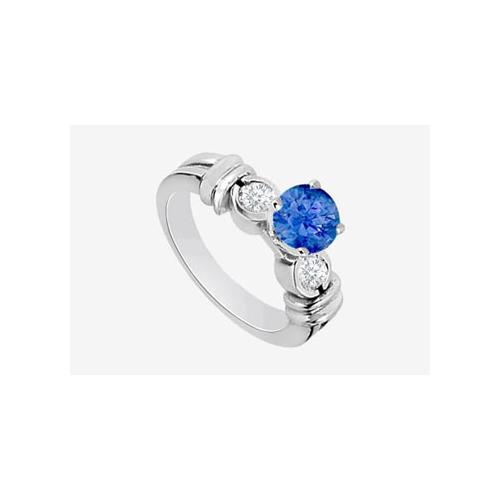 14K White Gold engagement ring with Sapphire and Cubic Zirconia 1.30 Carat TGW