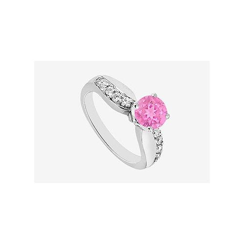 Pink Sapphire Engagement Ring with Cubic Zirconia in 14K White Gold 1.25 Carat TGW
