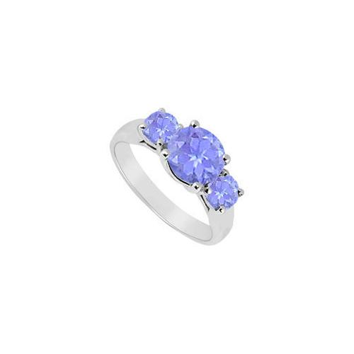 10K White Gold Created Tanzanite Three Stone Ring 2.50 CT TGW