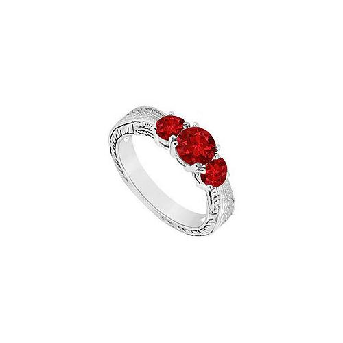 GF Bangkok Ruby Three Stone Ring 10K White Gold 0.50 CT TGW