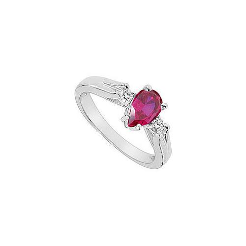 GF Bangkok Ruby and Cubic Zirconia Ring : 10K White Gold - 1.10 CT TGW