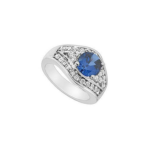 Diffuse Sapphire and Cubic Zirconia Ring : 10K White Gold - 3.00 CT TGW