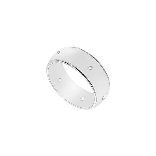 7MM Milgrain Wedding Band with Diamonds : 14K White Gold - 0.05 CT TDW