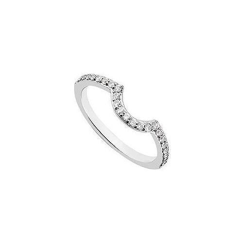 Diamond Curve Wedding Band : 14K White Gold 0.25 CT Diamonds