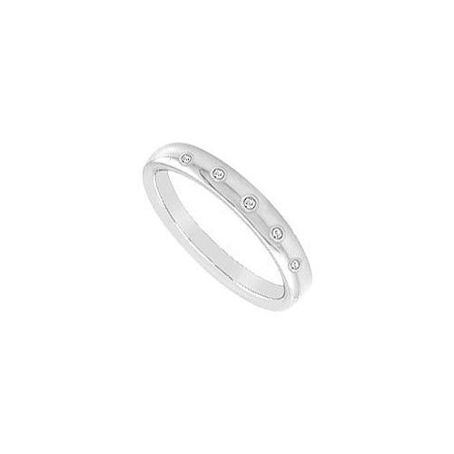 Diamond Wedding Band : 14K White Gold - 0.10 CT Diamonds
