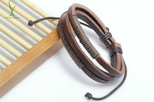 Hemp Rope and Leather Braided Bracelet
