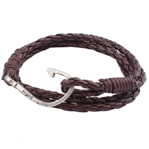 Handmade Multilayer Leather Braided Bracelet with Hook Clasp