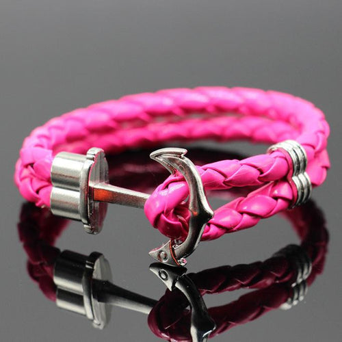 Multilayer Leather Handmade Cuff Anchor Bracelet
