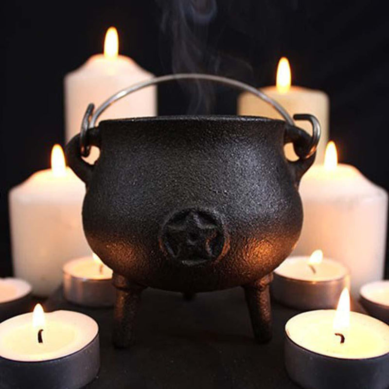 7cm Cast Iron Cauldron With Pentacle - Gothic Gifts