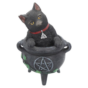 Black Cat Cauldron Figurine