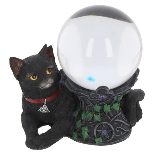 Black Cat Crystal Ball Holder Figurine
