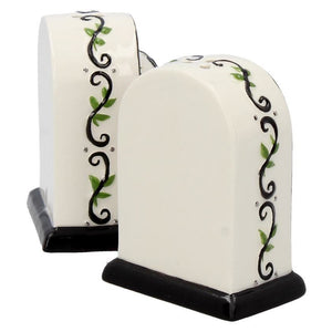 Ceramic Day of The Dead Tombstone Salt and Pepper Set
