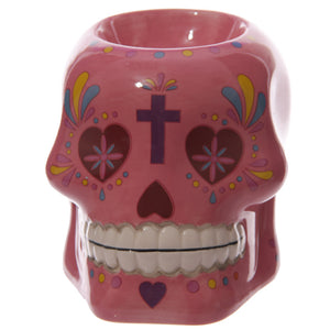 Pink Day of the Dead Skull Oil Burner