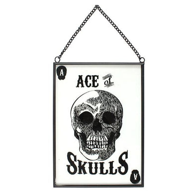 Glass Skull Hanging Sign
