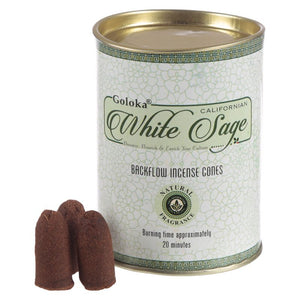 Goloka White Sage Backflow Incense Cones
