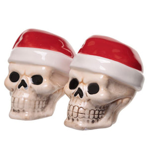 Ceramic Santa Skull Christmas Salt and Pepper Set