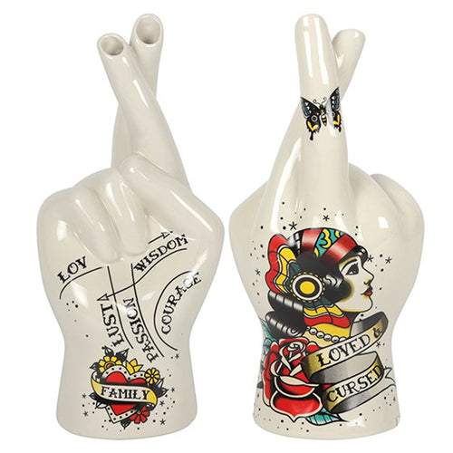 Loved & Cursed Tattoo Palmistry Hand Vase