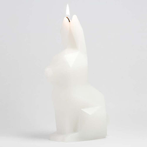White PyroPet Hoppa Bunny Skeleton Candle