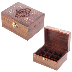 Sheesham Wood Essential Oil Box (Holds 12 Bottles)