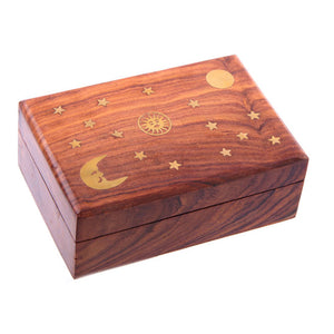 Sheesham Wood Trinket Box with Sun, Moon and Stars Inlay