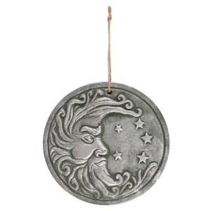 Circular Silver Effect Moon Plaque