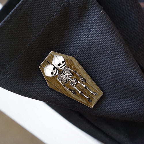 Skeleton Twins Enamel Pin
