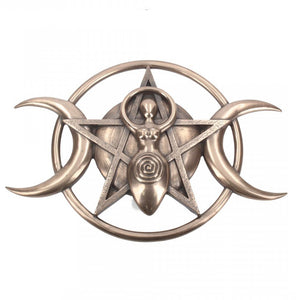Bronzed Triple Moon Goddess Plaque