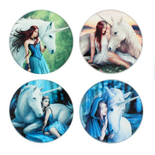 Glass Unicorn Coaster Pack by Anne Stokes