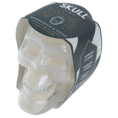 White Soya Sandalwood and Cedar Skull Candle Jar