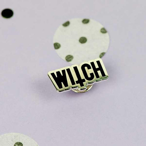 Witch Inverted Cross Enamel Pin