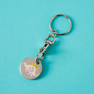 No F*cks Given Dino Keyring Trolley Coin