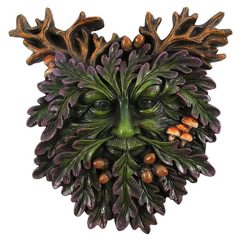 Green Man Wall Plaque with Acorns and Toadstools - Mystical Gifts