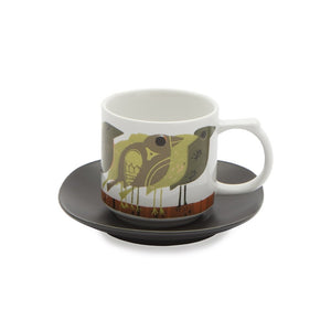 David Weidman Green Birds Espresso Cup, Saucer and Gift Box