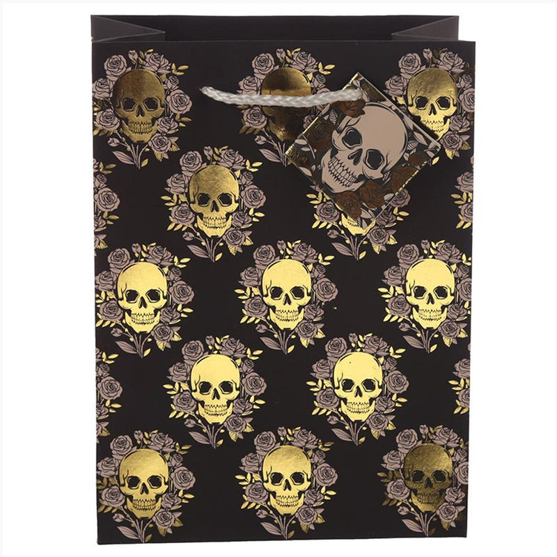 Medium Metallic Skulls and Roses Gift Bag - Gothic Gifts