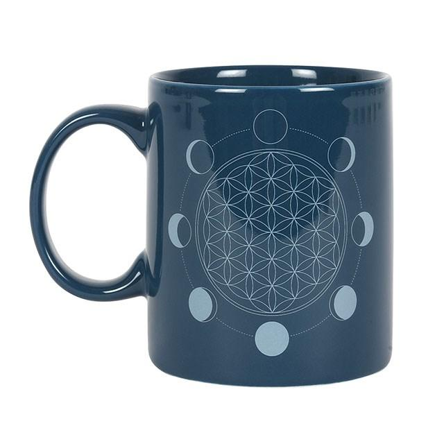 Moon Phase Flower of Life Mug - Mystical Gifts