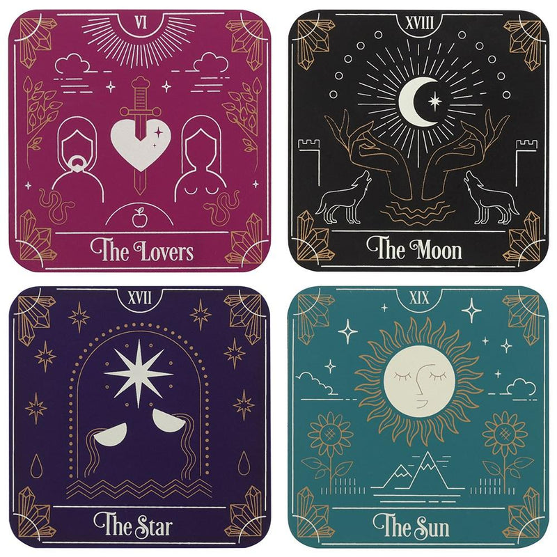 Tarot Card Coaster Set - Mystical Gifts