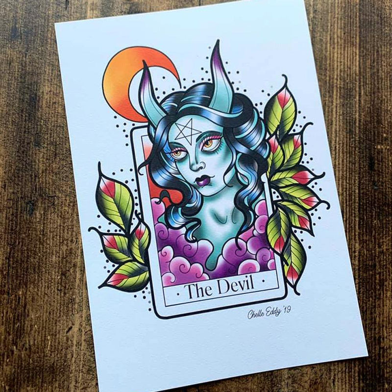 The Devil Tarot A5 Print by Michelle Eddy - Michelle Eddy